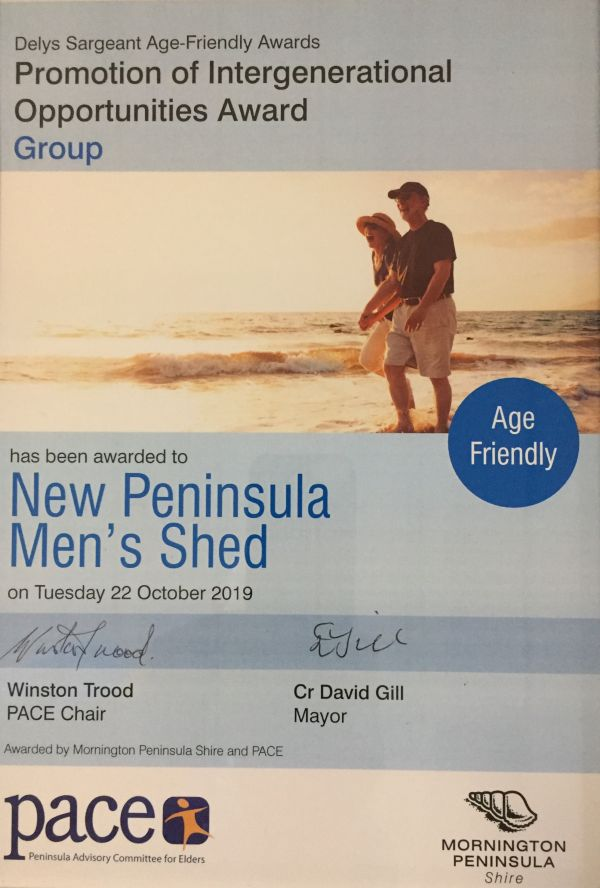 Award - New Peninsula Men's Shed