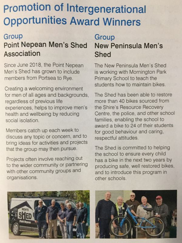 Award - Group - New Peninsula Men's Shed